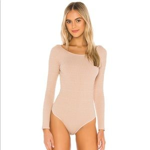 NWT Free People Sprinkled Gold Bodysuit Pink Combo